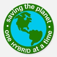 Hybrid Car Magnet with Earth