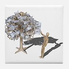 Taking Money from Money Tree Tile Coaster