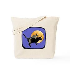 Witch Squirrel Cat Blue Tote Bag
