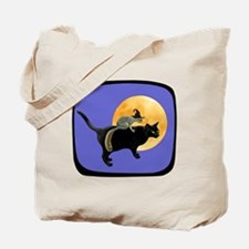 Witch Squirrel Cat Blue Tote Bag