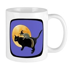 Witch Squirrel Cat Blue Small Mug