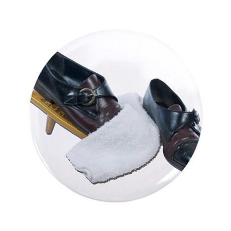 """Shoe Shine and Wedge 3.5"""" Button"""