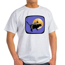 Witch Squirrel Cat Blue T-Shirt