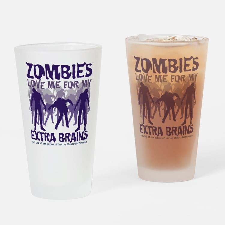 Zombies Love Me Drinking Glass