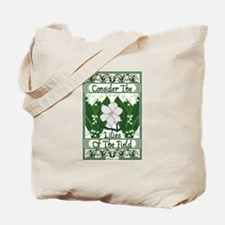 Consider The Lilies Bible Verse Tote Bag