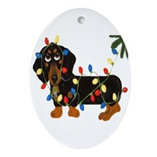 Dachshund (Blk/Tan) Tangled In Christmas Lights Or