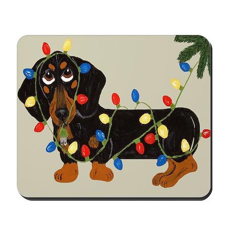 Dachshund (Blk/Tan) Tangled In Christmas Lights Mo
