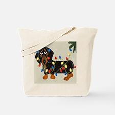 Dachshund (blk/tan) Tangled In Christmas Tote Bag