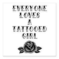 "Tattooed Girl Square Car Magnet 3"" x 3"""