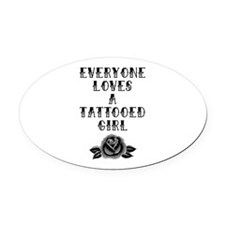 Tattooed Girl Oval Car Magnet