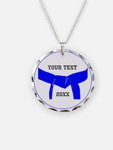 Custom Martial Arts Blue Belt Necklace Charm