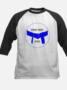 Custom Martial Arts Blue Belt Kids Baseball Jersey