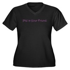 Plie is Your Friend Women's Plus Size V-Neck Dark