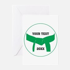 Custom Martial Arts Green Belt Greeting Cards 10pk