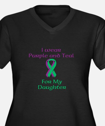 Purple and Teal Women's Plus Size V-Neck Dark T-Sh