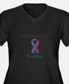 Purple and Teal Mother Women's Plus Size V-Neck Da