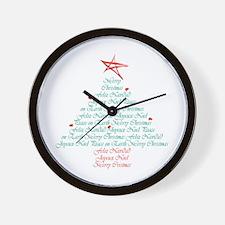 happy holiday tree Wall Clock