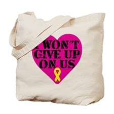 I Won't Give Up: Yellow Ribbon Tote Bag