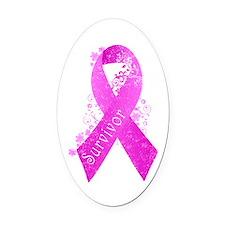 Breast Cancer Survivor Oval Car Magnet