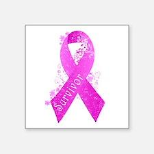 """Breast Cancer Survivor Square Sticker 3"""" x 3"""""""