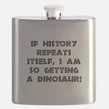 History Repeats Dinosaur Flask