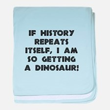 History Repeats Dinosaur baby blanket