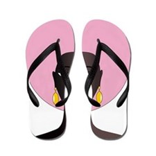 Woman with Pink Afro Flip Flops