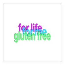 """For life for me gluten free Square Car Magnet 3"""" x"""