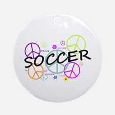 Colored Peace Signs Soccer Ornament (Round)