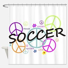 Colored Peace Signs Soccer Shower Curtain