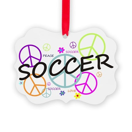 Colored Peace Signs Soccer Picture Ornament