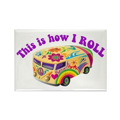 How I Roll (Hippie Van) Rectangle Magnet