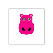 "cute pink hippo face Square Sticker 3"" x 3"""