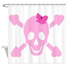 Pink Girl Skull Shower Curtain