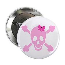 "Pink Girl Skull 2.25"" Button"