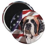 Saint Bernard US Flag Magnet