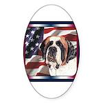 Saint Bernard US Flag Oval Sticker