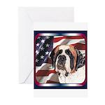 Saint Bernard US Flag Greeting Cards (Pk of 10
