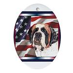 Saint Bernard US Flag Oval Ornament