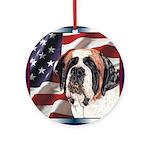 Saint Bernard US Flag Ornament (Round)