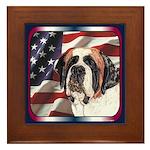 Saint Bernard US Flag Framed Tile