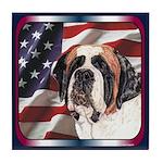 Saint Bernard US Flag Tile Coaster