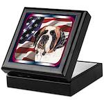 Saint Bernard US Flag Keepsake Box