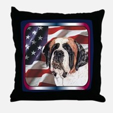 Saint Bernard US Flag Throw Pillow