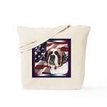 Saint Bernard US Flag Tote Bag