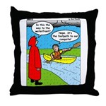 Campsite Canoeing Throw Pillow