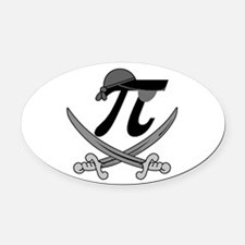 Pi - Rate Greyscale Oval Car Magnet