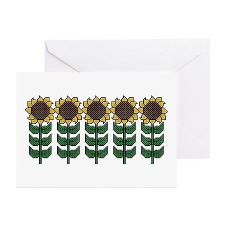 Sunflower Cross Stitch Style Cards (Pk of 10)
