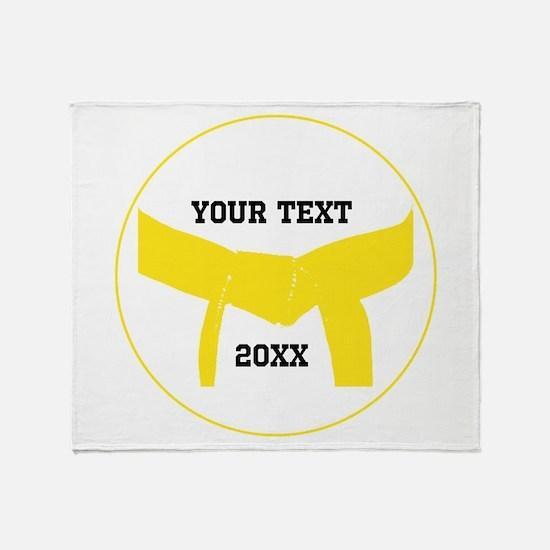 Custom Martial Arts Yellow Belt Throw Blanket