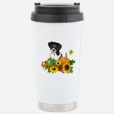Fall Flowers Puppy Stainless Steel Travel Mug